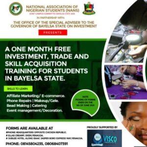 Bayelsa State Free Investment Trade & Skill Acquisition Training